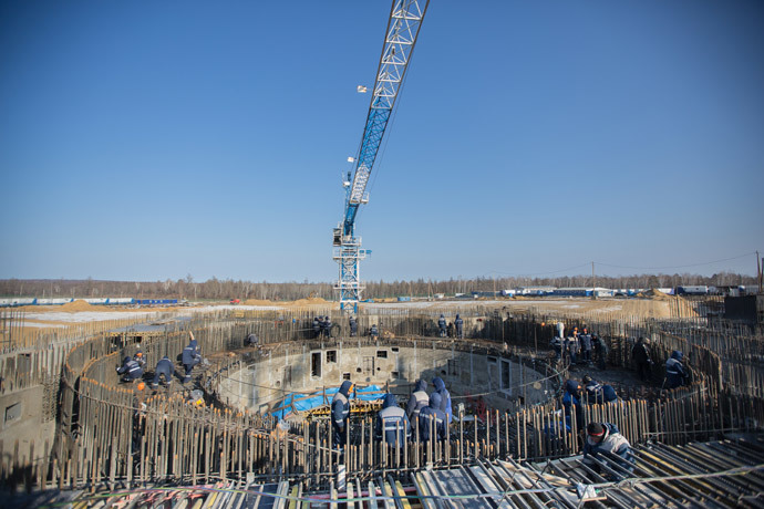 Workers at the construction site of Vostochny cosmodrome.(RIA Novosti / Igor Ageyenko)