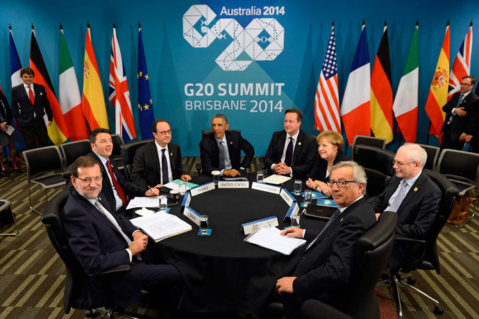 (L to R) Spain's President, Italy's Prime Minister , France's President, US President Barack Obama, Britain's Prime Minister David Cameron, Germany's Chancellor Angela Merkel, European Commission President Jean-Claude Juncker and European Council President Herman Van Rompuy (far R) take part in a multi-lateral meeting with European leaders at the G20 Summit in Brisbane. (AFP Photo / Alain Jocard)