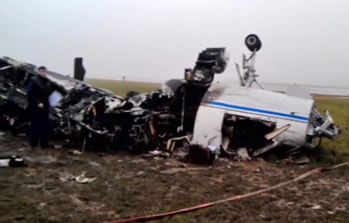 A Falcon plane has crashed at Moscow's Vnukovo airport. (RIA Novosti/SK RF)