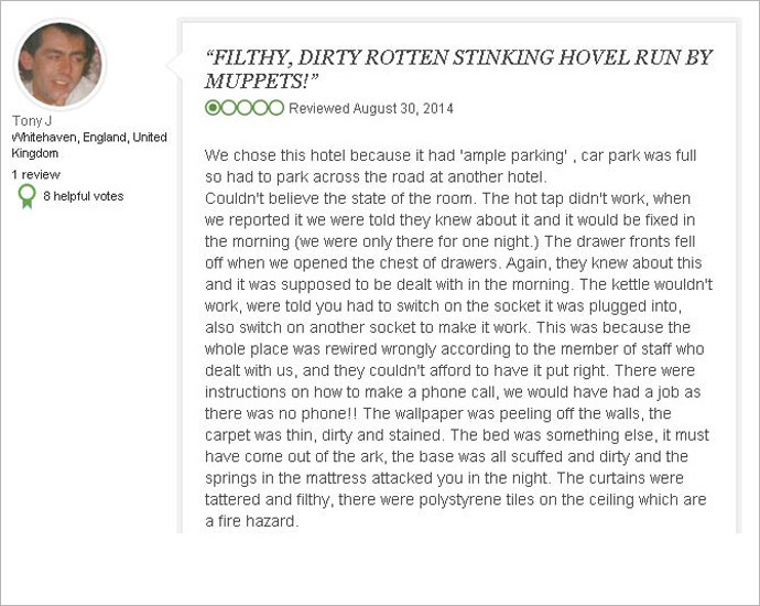 Jenkinson's review on TripAdvisor, posted August 30, 2014.