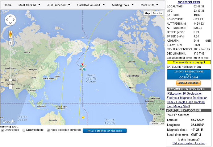 Screenshot from real-time satellite tracking website www.n2yo.com/?s=39765