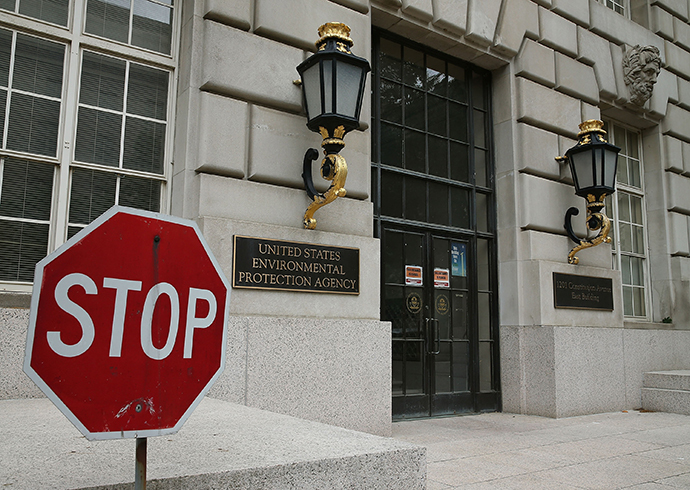 A stop sign stands outside the Environmental Protection Agency (EPA) building (Mark Wilson / Getty Images / AFP)