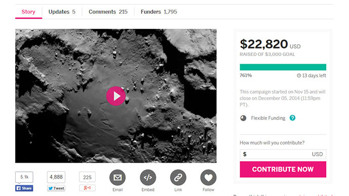 Screenshot from Indiegogo.com
