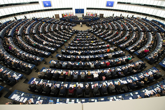 This handout photo released by the Council of Europe on November 25, 2014 shows Pope Francis adressing the assembly of the Council of Europe in Strasbourg, eastern France, on November 25, 2014 (AFP Photo / HO)