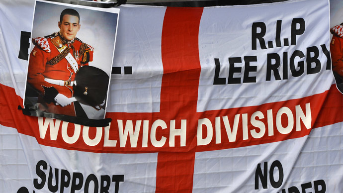 A banner and photographs of murdered soldier Lee Rigby (Reuters/Toby Melville)
