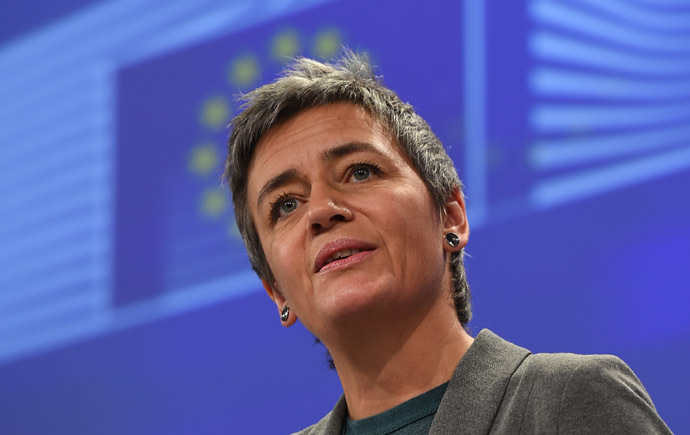 European competition commissioner Margrethe Vestager gives a press conference at European Commission headquarters in Brussels. (AFP Photo/Emmanuel Dunand)