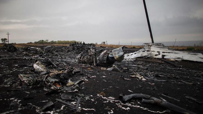 People stand near the remains of fuselage where the downed Malaysia Airlines flight MH17 crashed, near the village of Hrabove (Grabovo) in Donetsk region, eastern Ukraine.(Reuters / Marko Djurica)