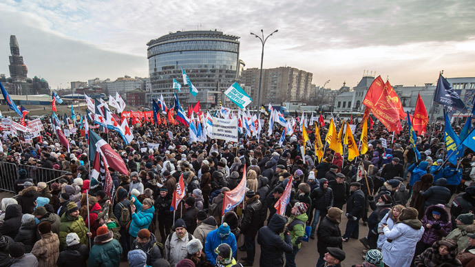 Russian medical personnel and patients march in Moscow on November 30, 2014.(AFP Photo / Dmitry Serebryakov)