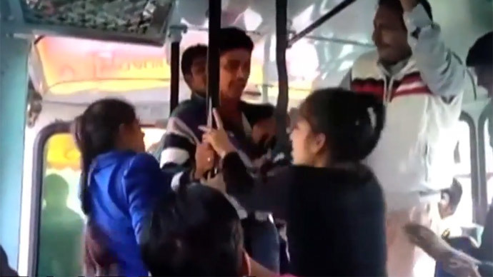Fightback: 2 college girls beat molesters with belts on Indian bus (VIDEO)