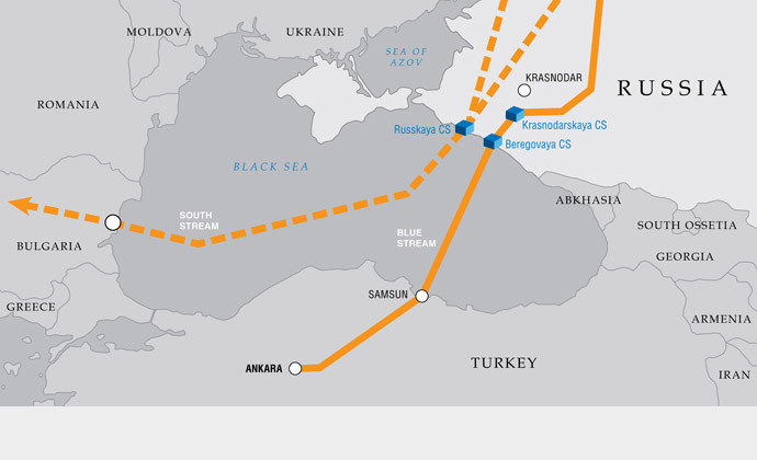 On the left, the planned South Stream route, to the right, the Blue Stream pipeline to Turkey. Image from www.gazprom.com