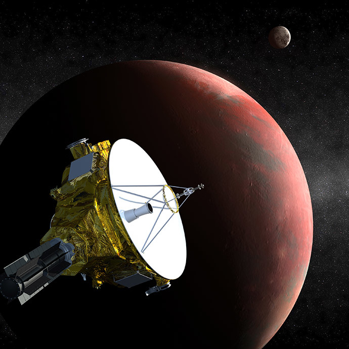 This artist's concept obtained December 1, 2014 courtesy of NASA/Johns Hopkins University Applied Physics Laboratory/Southwest Research Institute (JHUAPL/SwRI), shows the New Horizons spacecraft as it approaches Pluto and its three moons in summer 2015. (AFP Photo/NASA/Johns Hopkins University Applied Physics Laboratory/Southwest Research Institute)