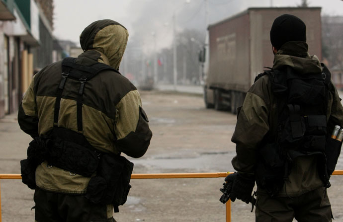 Servicemen of the police special unit during counter-terrorist operation in Grozny. RIA Novosti/Said Tsarnaev
