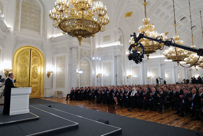 Russian President Vladimir Putin delivers the annual Presidential Address to the Federal Assembly at the Kremlin's St. George's Hall. (RIA Novosti/Michael Klimentyev)