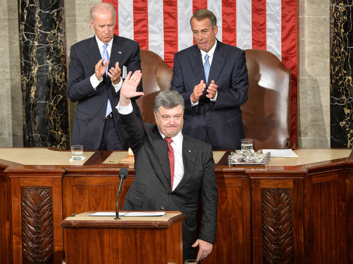 Ukrainian President Petro Poroshenko addresses a joint session of the US Congress at the Capitol in Washington, DC, on September 18, 2014. (AFP Photo/Nicholas Kamm)