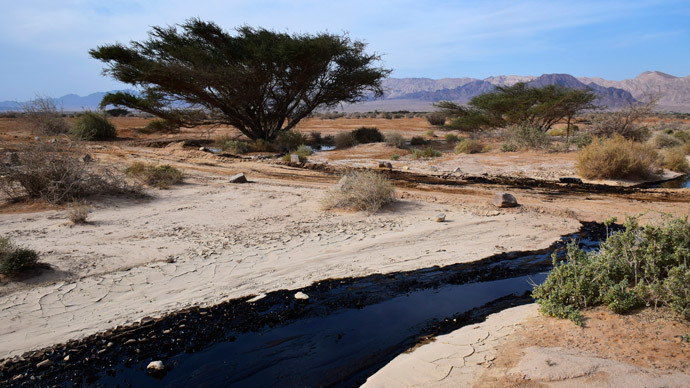 Crude oil streams through the desert in south Israel, near the village of Beer Ora, north of Eilat, December 4, 2014. (Reuters / Yehuda Ben Itach)