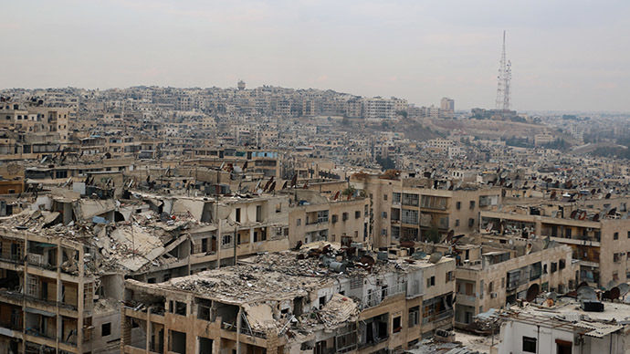 A picture taken on November 24, 2014, shows damaged buildings in the rebel-held Ansari disctrict of the northern Syrian city of Aleppo. (AFP Photo/Baraa Al-Halabi)