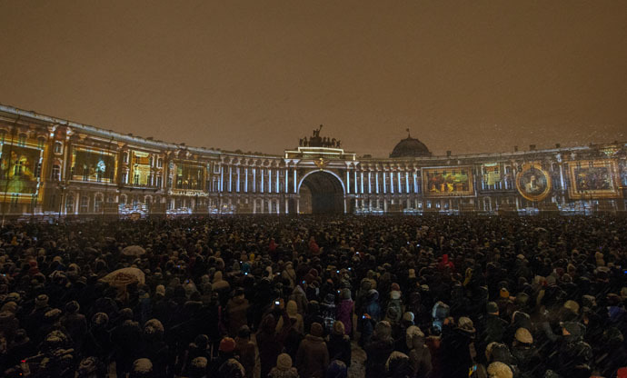 """History Ball"", a light show marking the 250th anniversary of the Hermitage, held on Dvortsovaya (Palace) Square, St. Petersburg.(RIA Novosti/Igor Russak)"
