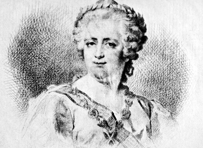 Catherine the Great (1729-1796). An engraved vignette by V.Bobrov on a portrait of Peter the Great from Dmitry Levitsky's painting. From the collection of the State Museum of History. (RIA Novosti)