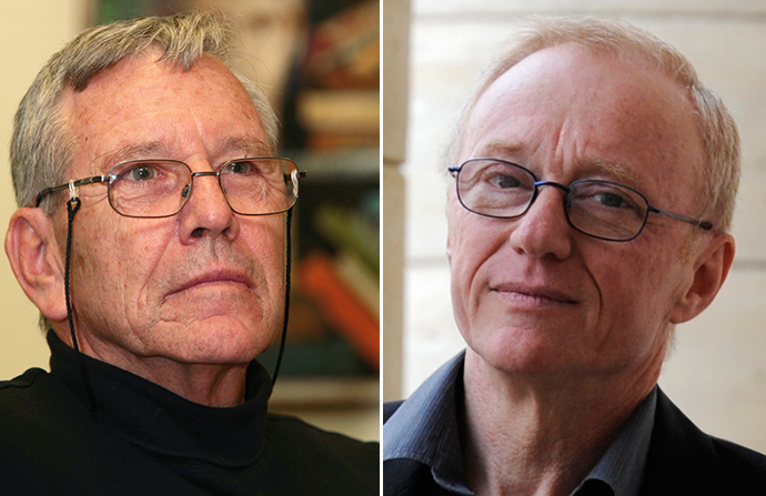 (L-R) Amos Oz and David Grossman (Reuters)