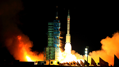China's Long March-2F/H rocket carrying the unmanned spacecraft Shenzhou-VIII blasts off from the Jiuquan Satellite Launch Centre in the northwestern province of Gansu at 5:58 am (2158 GMT) on November 1, 2011 (AFP Photo)