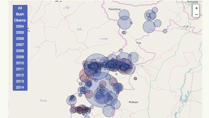 Image from newamerica.net showing location of drone strikes in Pakistan.