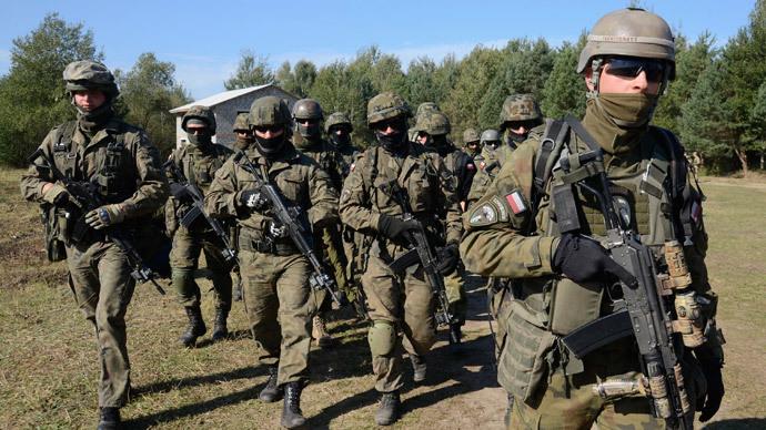 Polish servicemen take part in military exercises outside the town of Yavoriv near Lviv.(Reuters / Roman Baluk)
