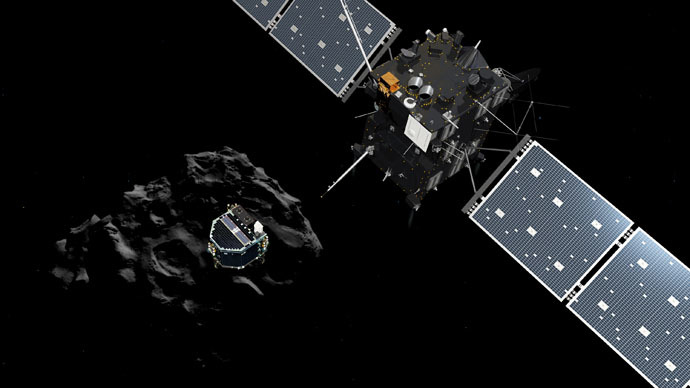 A handout released by the ESA/ATG medialab on November 12, 2014 shows an artists impression of the European probe Philae separating from its mother ship Rosetta and descending to the surface of comet 67P/Churyumov-Gerasimenko. (AFP/ESA/ATG)