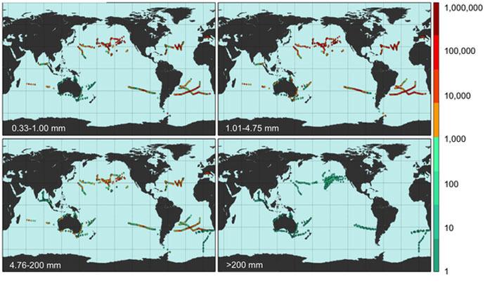 Field locations where density of marine plastic debris was measured