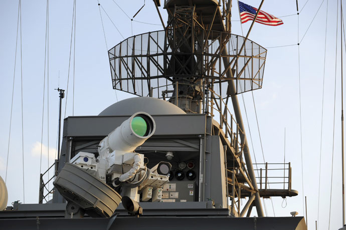 The laser weapon system (LaWS) is tested aboard the USS Ponce amphibious transport dock (Reuters/U.S. Navy)
