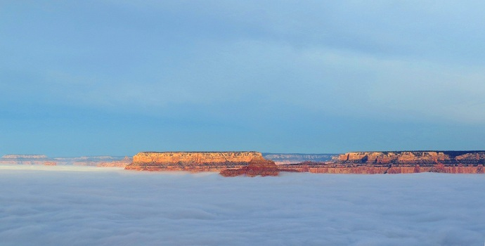 Total cloud inversion near Desert View, Grand Canyon National Park, Thursday, December 11, 2014. NPS photo by Maci MacPherson