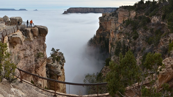 Grand Canyon covered by sea of clouds in amazing weather event (VIDEO, PHOTOS)