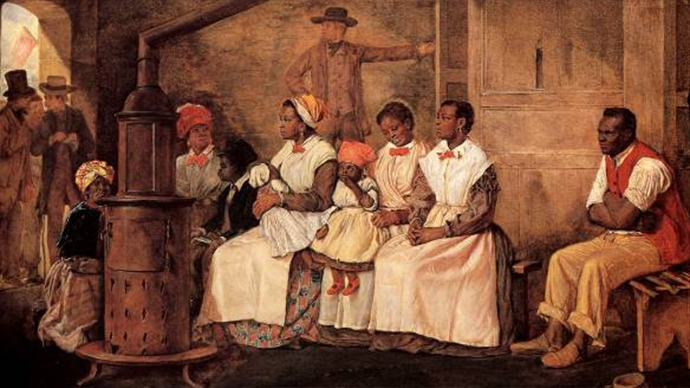 Slaves Waiting for Sale: Richmond, Virginia. Painted upon the sketch of 1853 (Image from wikipedia.org)