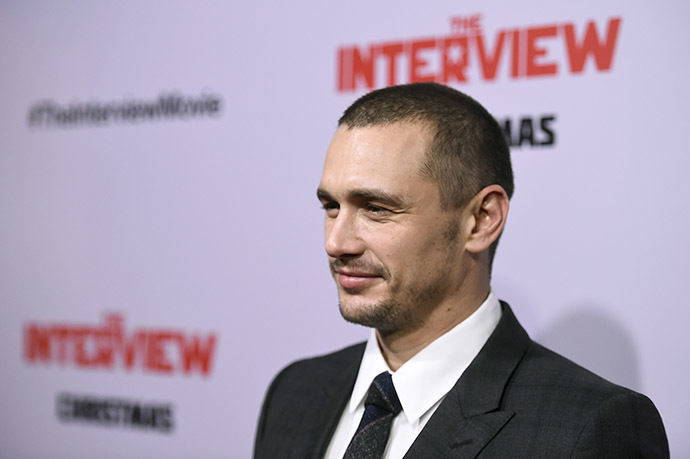 "Actor James Franco attends the premiere Of Columbia Pictures' ""The Interview"" at The Theatre at Ace Hotel Downtown LA on December 11, 2014 in Los Angeles, California. (AFP Photo/Frazer Harrison)"