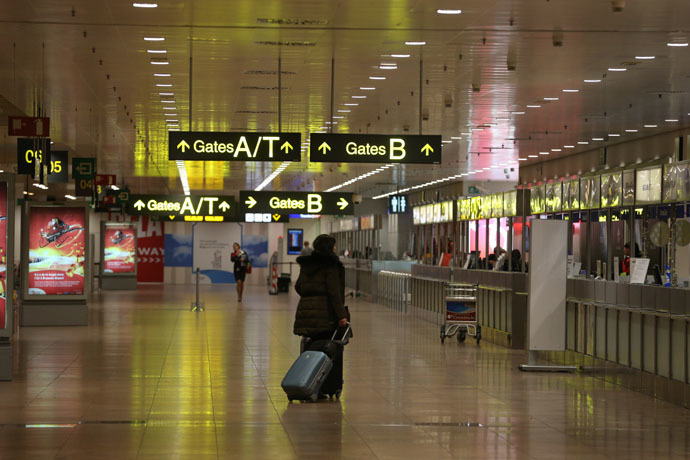 A photo taken on December 14, 2014 shows the near-empty Zaventem airport at the start of a 24-hour general strike in Belgium to protest against austerity measures taken by the federal government. (AFP/Belga)