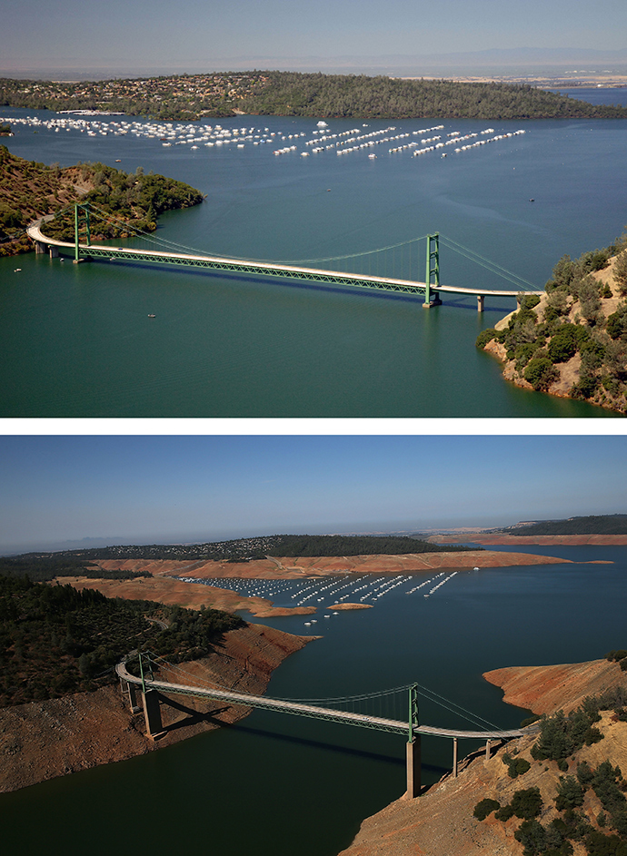 In this before-and-after composite image, (Top) The Green Bridge passes over full water levels at a section of Lake Oroville near the Bidwell Marina on July 20, 2011 in Oroville, California (AFP Photo / Paul Hames)