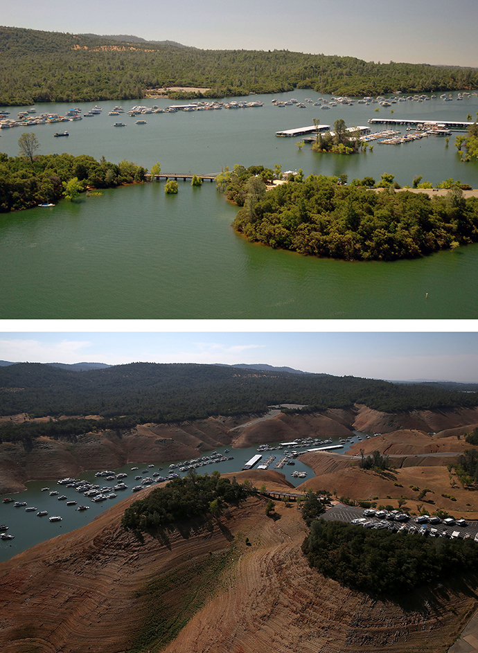 In this before-and-after composite image, (Top) Full water levels are visible in the Bidwell Marina at Lake Oroville on on July 20, 2011 in Oroville, California (AFP Photo / Paul Hames)