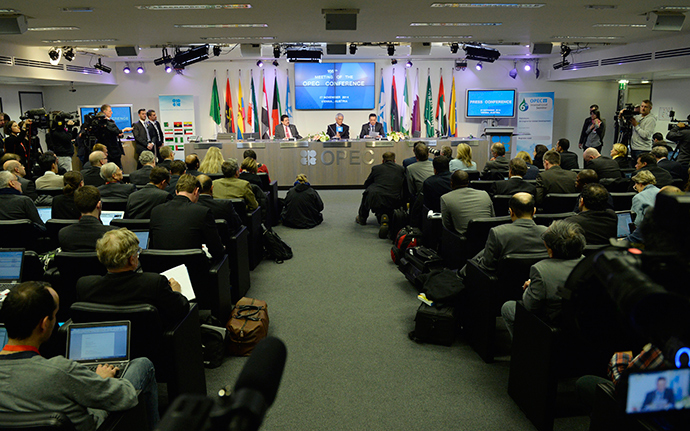 OPEC Secretary General Abdalla Salem El-Badri attends at press conference after the166th Organization of the Petroleum Exporting Countries, OPEC, at their headquarters in Vienna, Austria on November 27, 2014 (AFP Photo)