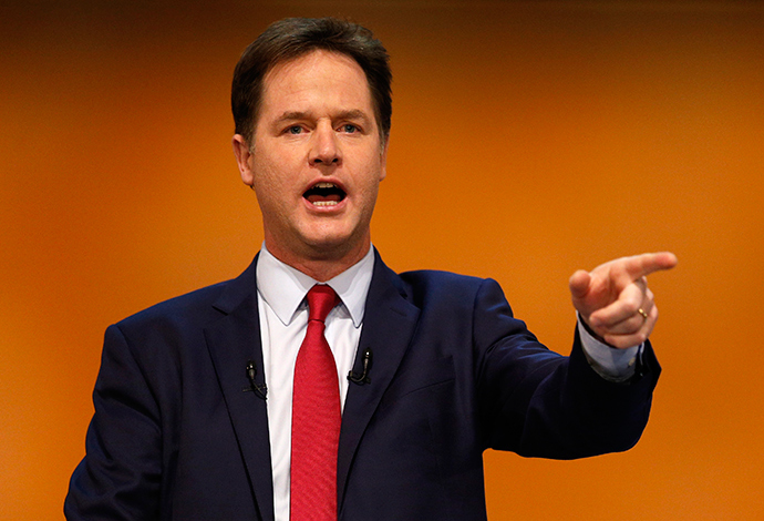 Britain's Deputy Prime Minister, and leader of the Liberal Democrats, Nick Clegg (Reuters / Russell Cheyne)