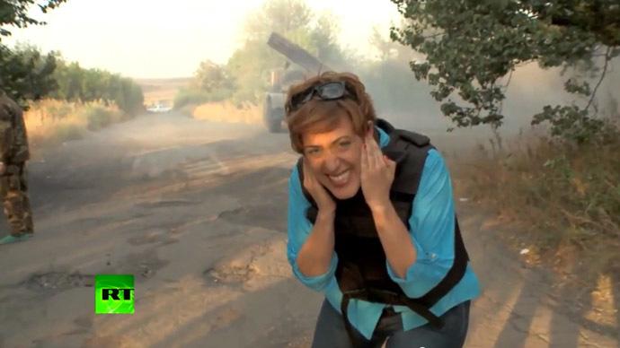 RT's Paula Slier reporting from Eastern Ukraine. Still from RT video
