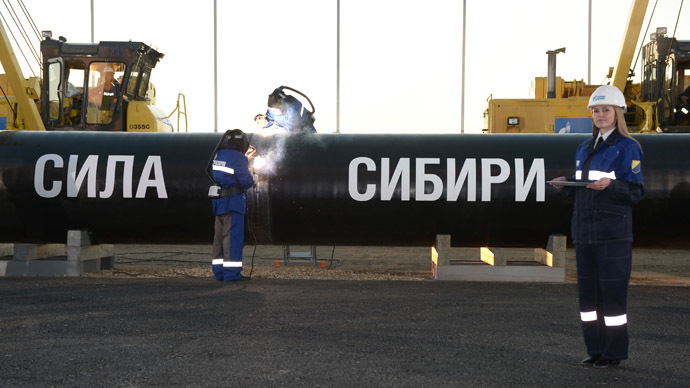 Gazprom's Power of Siberia pipeline – to deliver 4 trillion cubic meters of gas to China over 30 years – construction commencing September 2014. (RIA Novosti/Aleksey Nikolskyi)
