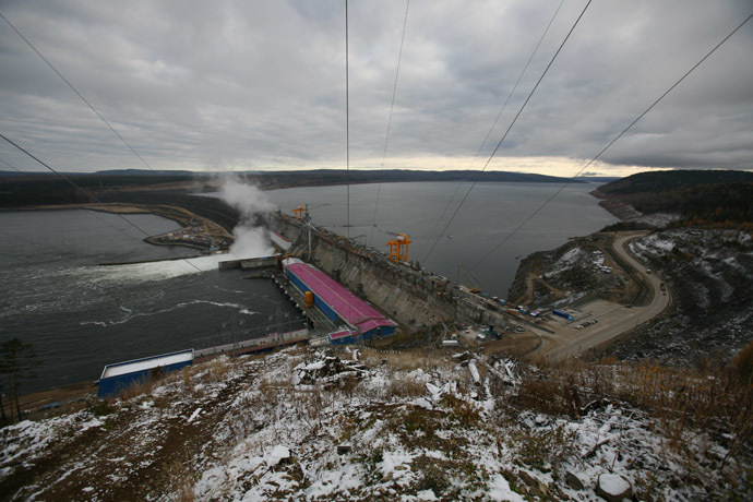 A view of the Boguchany Hydroelectric Station on the Angara River. (RIA Novosti/Alexandr Kryazhev)