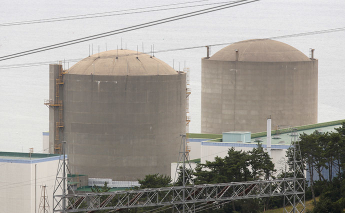 The Shin Kori No. 1 reactor (R) and No. 2 reactor of state-run utility Korea Electric Power Corp (KEPCO) are seen in Ulsan. (Reuters/Lee Jae-Won)