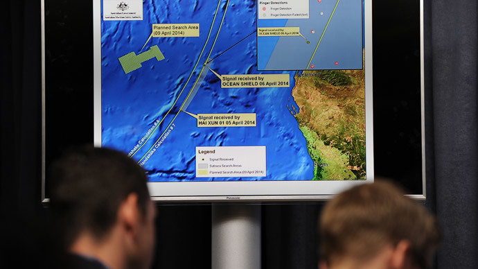 A graphic of the area being searched for missing Malaysia Airlines flight MH370 (AFP Photo/ Pool / Greg Wood)
