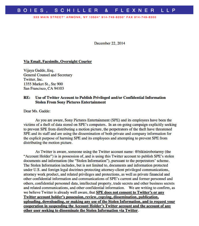 A screenshot of the letter sent from Sony to Twitter's general counsel.