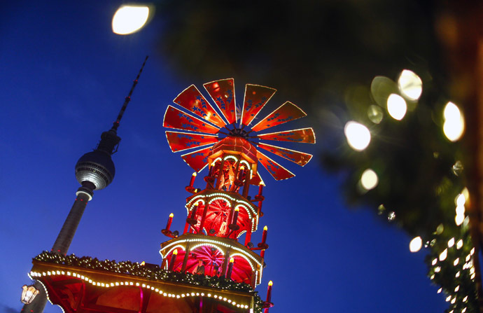 A Christmas pyramid is pictured next to the television tower at the Christmas market at Alexanderplatz square in Berlin. (Reuters/Hannibal Hanschke )