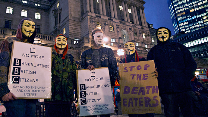 ​Anonymous hold protest at BBC London HQ