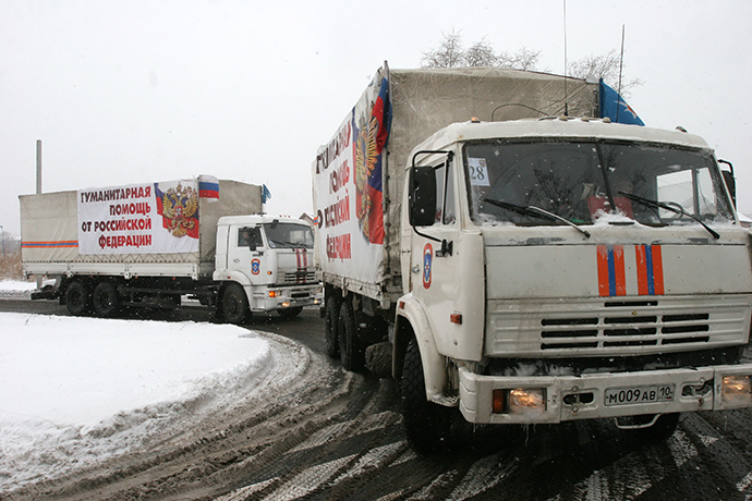 The trucks of Russia's eighth humanitarian aid convoy arrive in Donetsk (RIA Novosti / Igor Maslov)