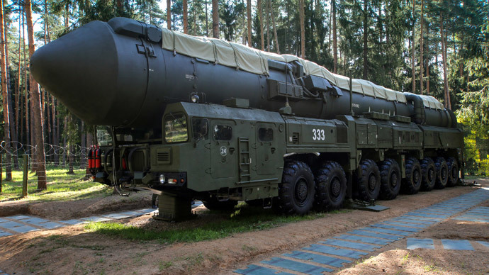 The Yars land-based mobile missile system before being transported to its field combat duty site at the Teykovo Guards Missile Division.(RIA Novosti / Vadim Savitskii)