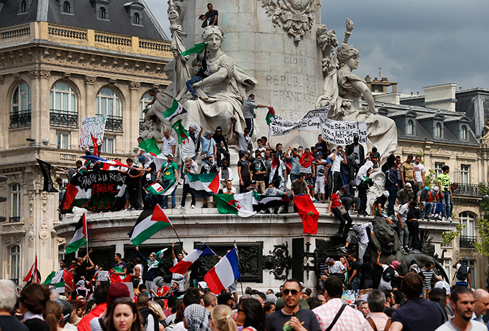 Protesters gather at Place de la Republique during a banned demonstration in support of Gaza in central Paris, July 26, 2014. (Reuters / Benoit Tessier)