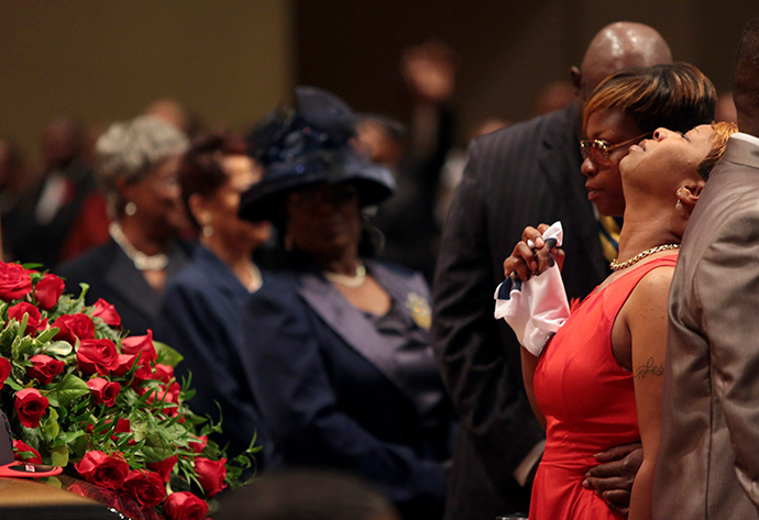 Lesley McSpadden reacts during the funeral services for her son Michael Brown at Friendly Temple Missionary Baptist Church in St. Louis, Missouri, August 25, 2014. (Reuters / Robert Cohen / Pool)